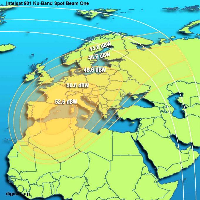 Intelsat 901 Ku-Band spotbeam one footprint map