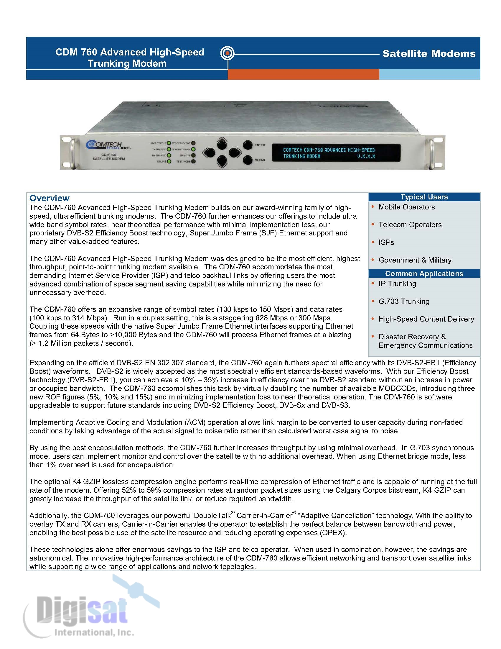 CDM-760 Technical Specifications Page 1