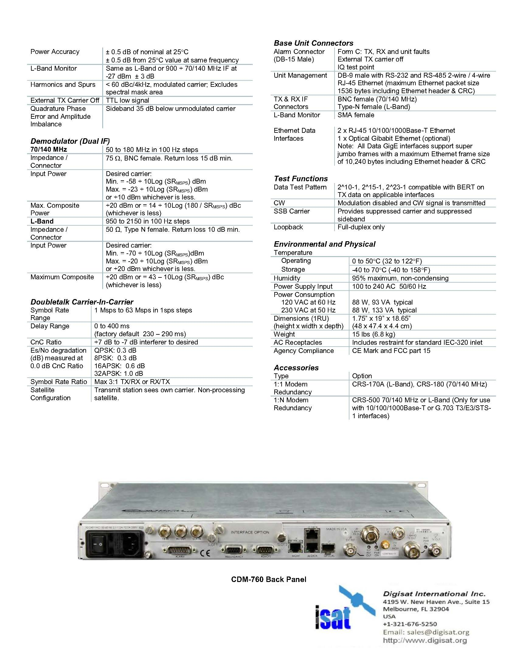 CDM-760 Technical Specifications Page 3