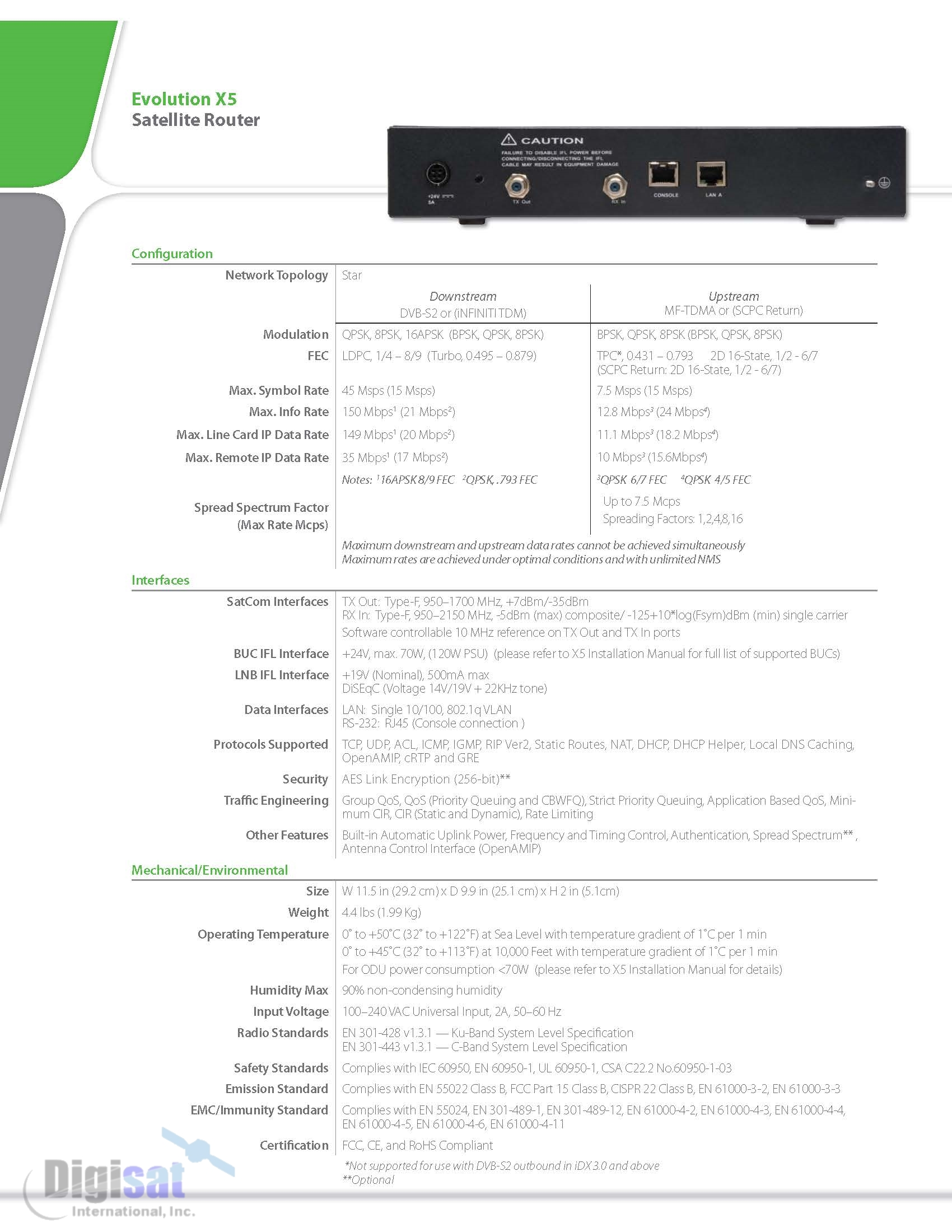 iDirect X5 Technical Specifications Page 2