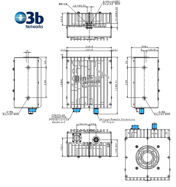 njrc njt5835L 5W O3B Networks BUC dimensions