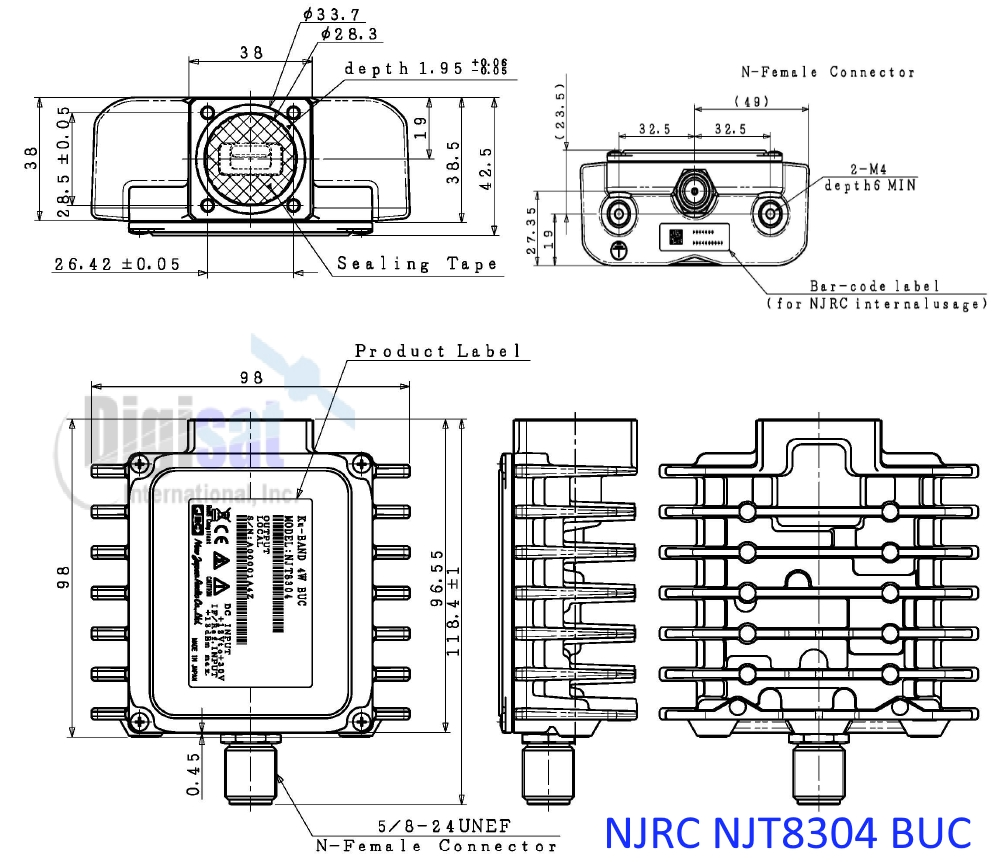 njrc njt8304 4W BUC outline dimensions
