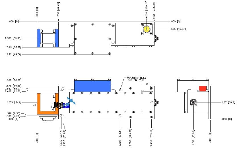 Paradise Datacom RF2 Ku-Band LNA Outline Dimensions