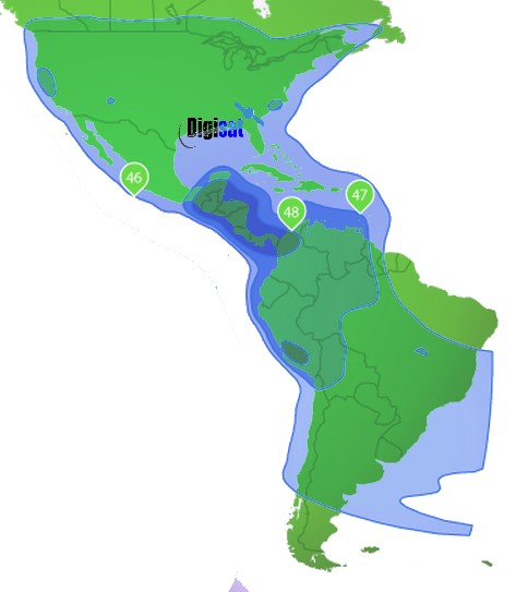 South and Central America iDirect Satellite Internet Coverage Area