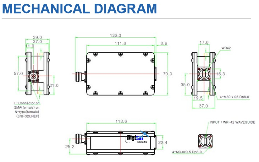 Norsat 9000HT-3 LNB Mechanical Dimensions Diagram