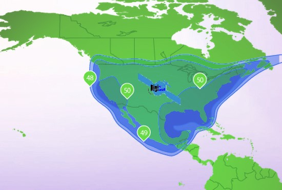 North South And Central America VSAT Satellite Broadband Internet - North america satellite image