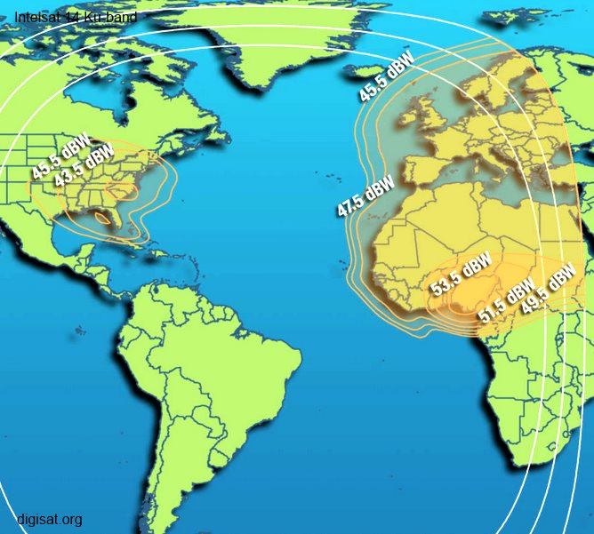 Intelsat IS-14 C & Ku-Band Satellite Footprint Coverage Map