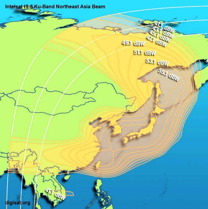 Intelsat 8 Satellite Footprint Maps