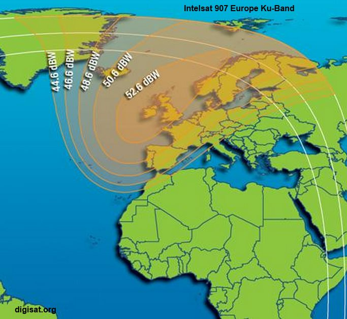 Intelsat (IS) 907 C-Band & Ku-Band Satellite Footprint Maps