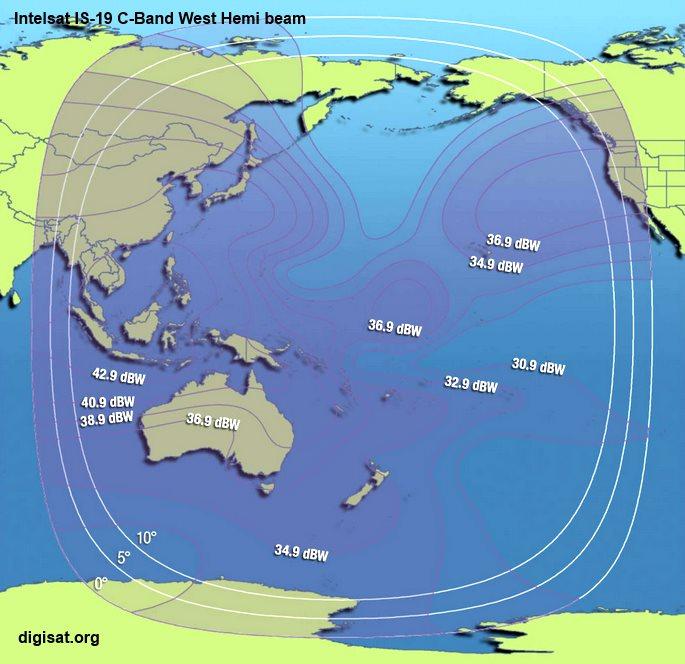 Intelsat 19 Ku-Band & C-Band Transponder Footprint Coverage