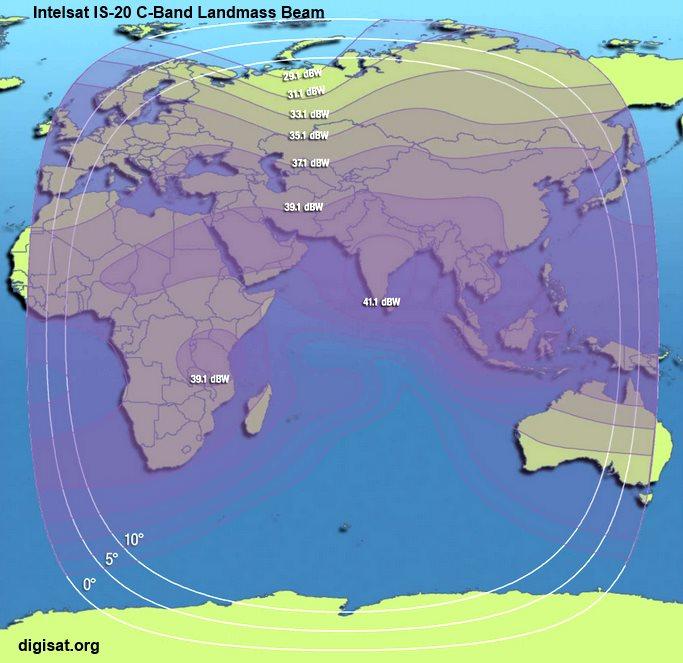 Intelsat IS-20 Satellite Footprint Maps- Ka-Band, C-Band, Ku
