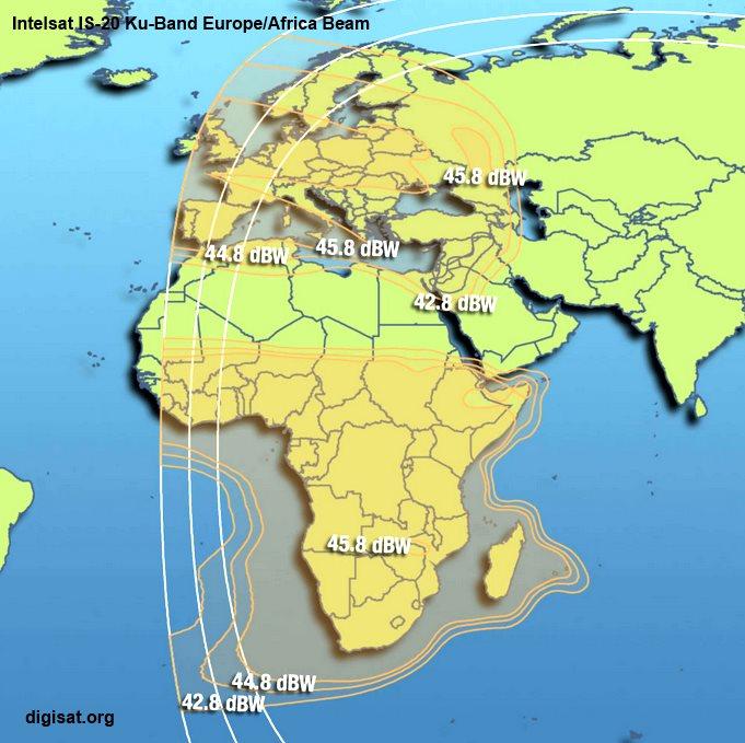 Intelsat IS-20 Satellite Footprint Maps- Ka-Band, C-Band, Ku-Band